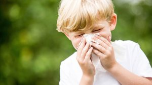 A young boy sneezes. Its allergy season again.