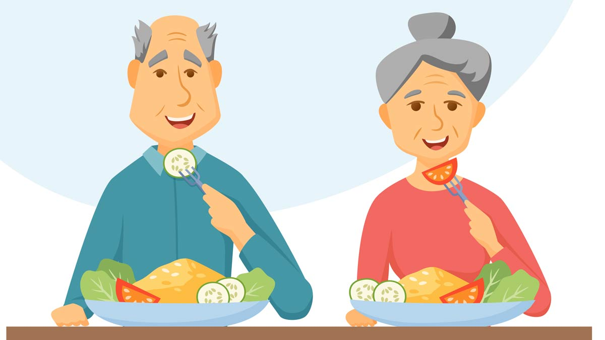 Graphic: an elderly couple with a good diet. Many things can affect our eating habits as we age.