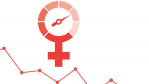 Graphic with the female gender symbol styled as a clock with a line chart below