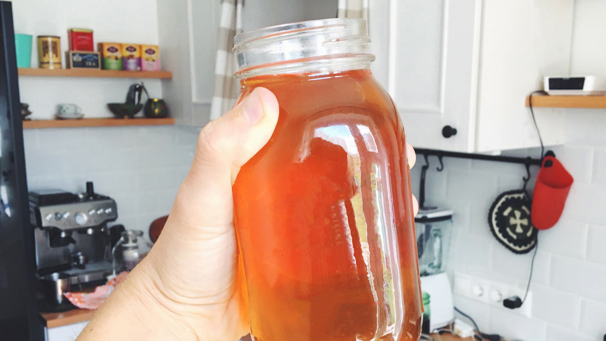 A jar of Kombucha