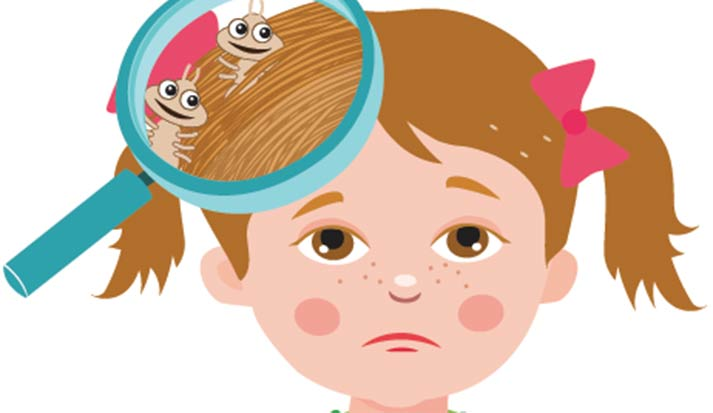 Cartoon drawing of an uhnappy young girl with lice. Lice - an itchy, scratchy nit-picking nightmare.