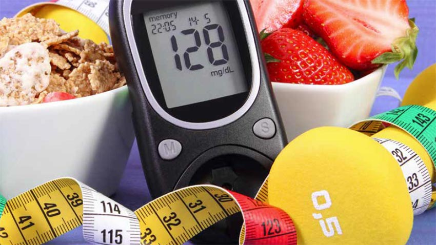 Managing Diabetes in the Golden Years. Photo of glucometer, healthy foods and measuring tape.