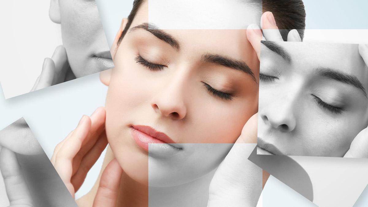 Woman's facial collage for Facial Surgery article