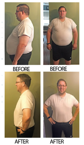 Dan Caskie before and after weight loss photos. If you fail today, start again tomorrow.