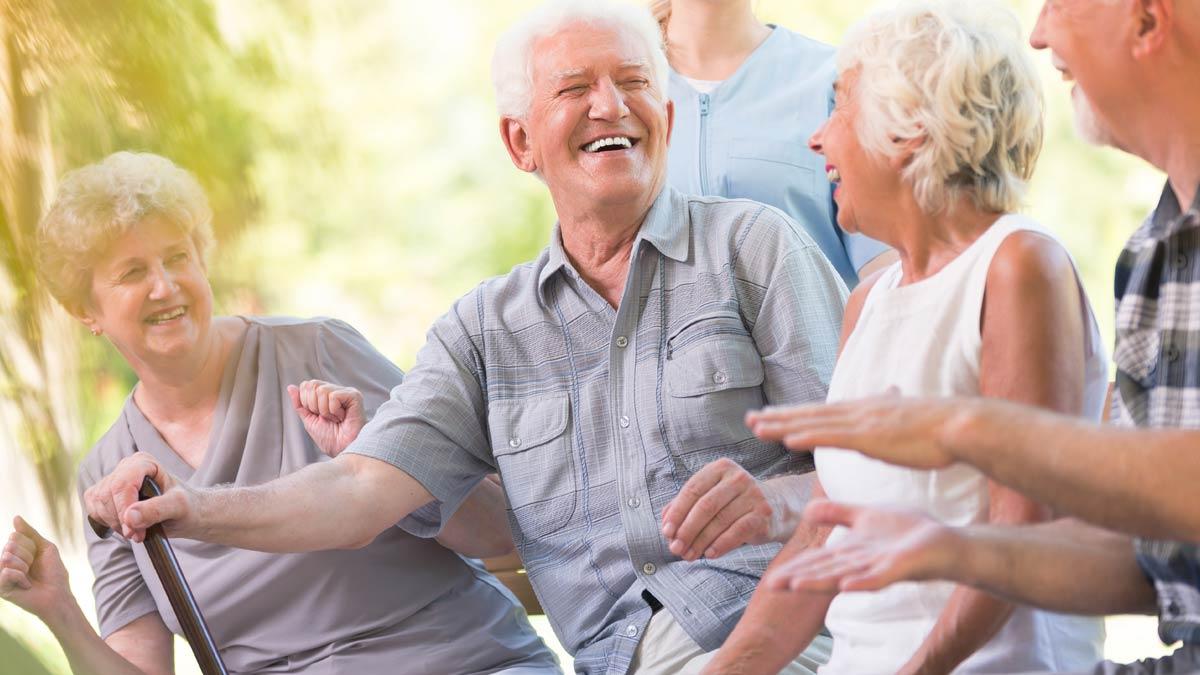Happy seniors laugh together