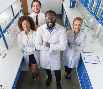 A medical research team in the lab