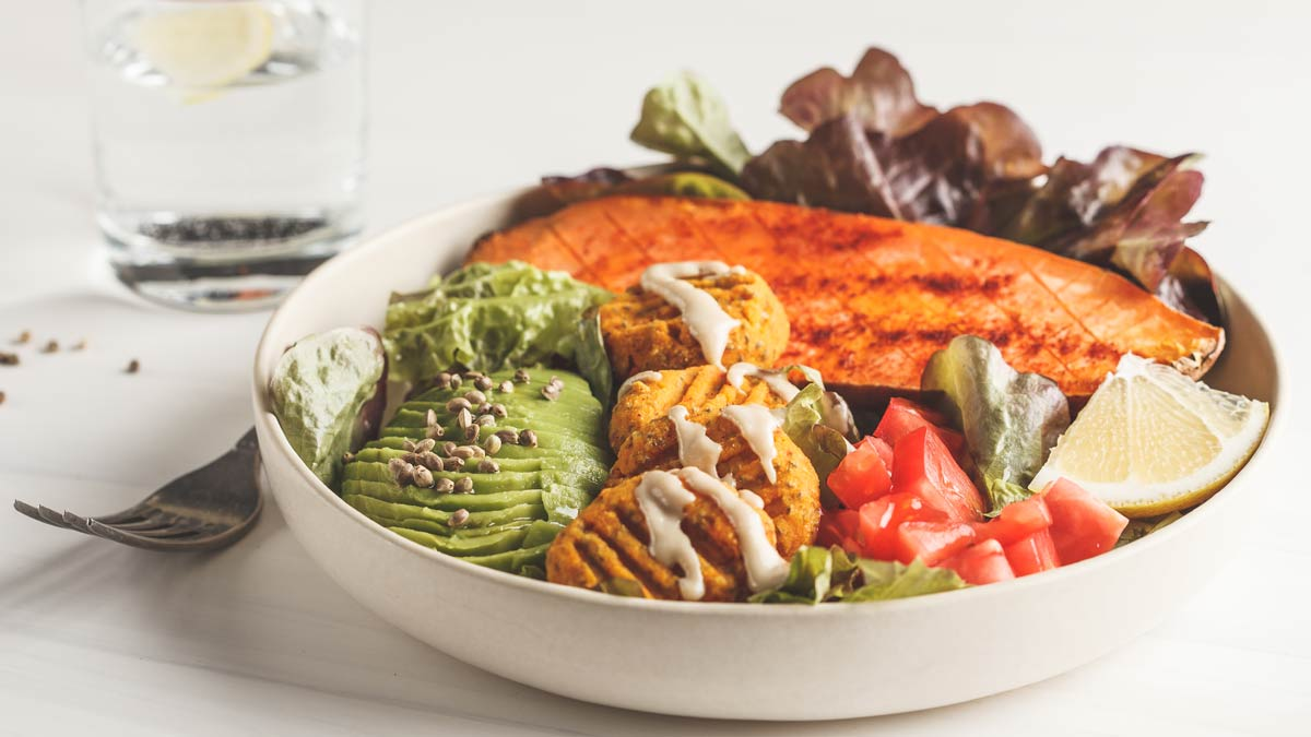 A healthy, tasty meal composed of plant-based foods.