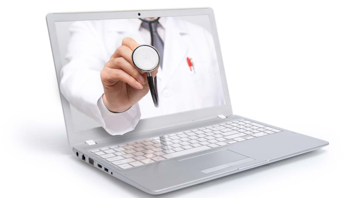 TELEMEDICINE. A Doctor's arm comes out of a laptop.