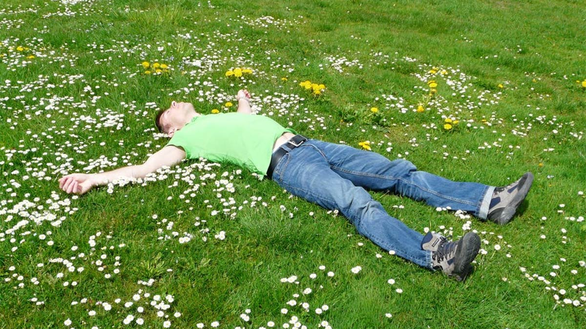 A tired man sleeping in the grass