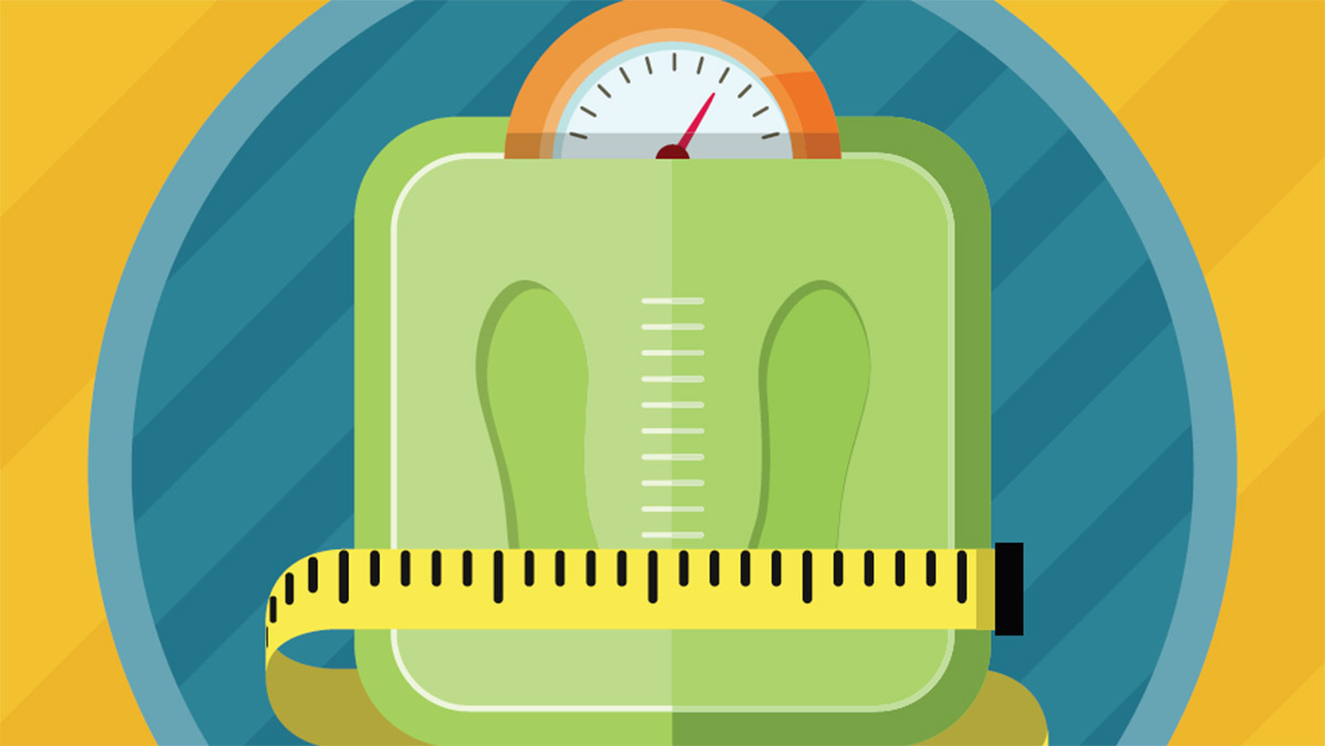 Scale, measuring tape. Lose Weight! Four Weight Loss Success Stories.