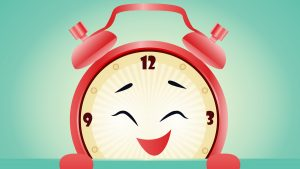 Illustration of a happy clock for a daylight savings article