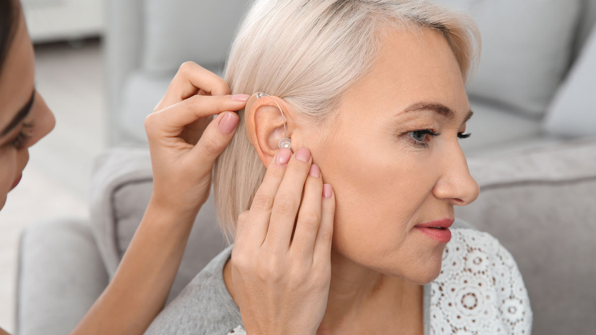 A hearing aid is fitted for a new patient