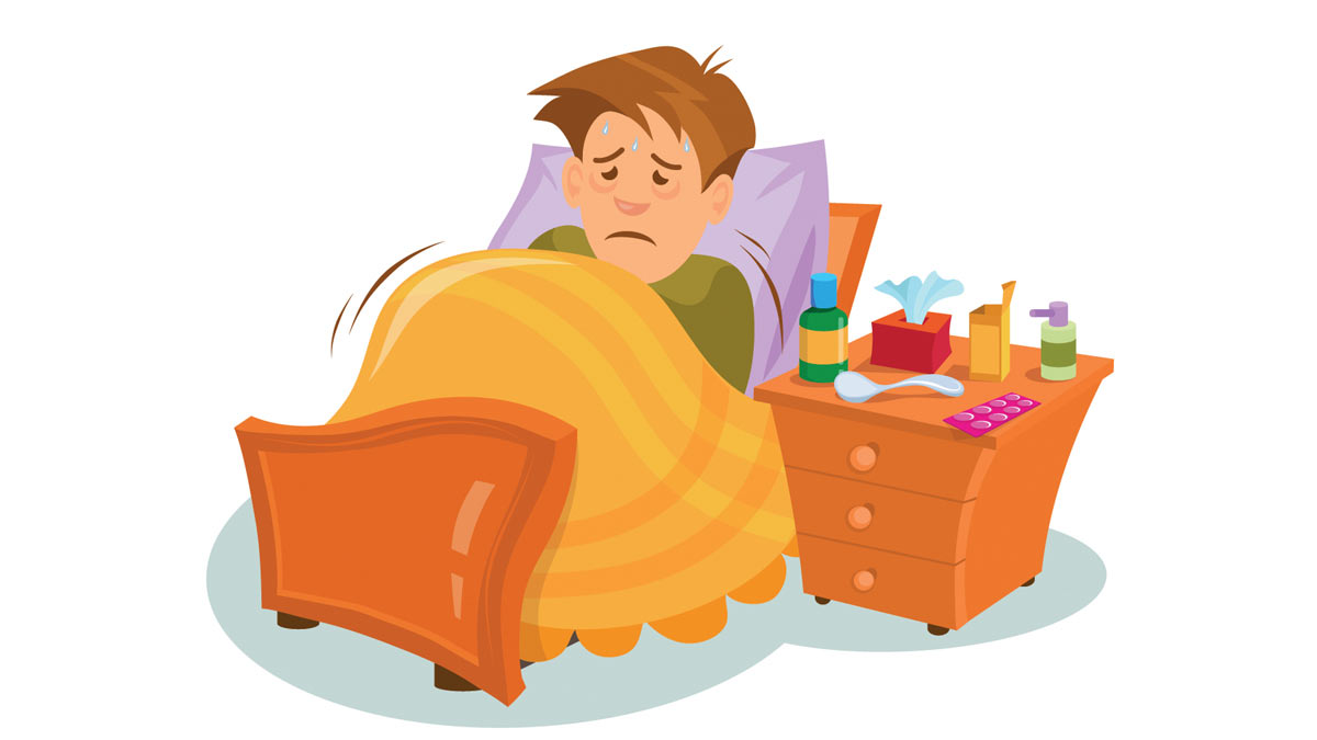 A man with the flu resting in bed