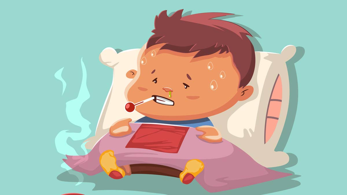 An illustration of a sick boy with a pillow and blanket and a thermometer in his mouth