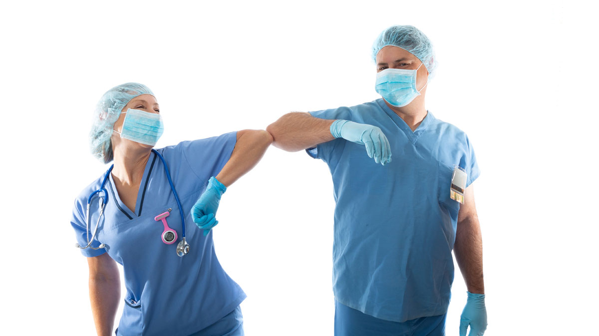 Primary care doctors wearing PPE during pandemic