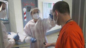 A prison inmate getting health care.