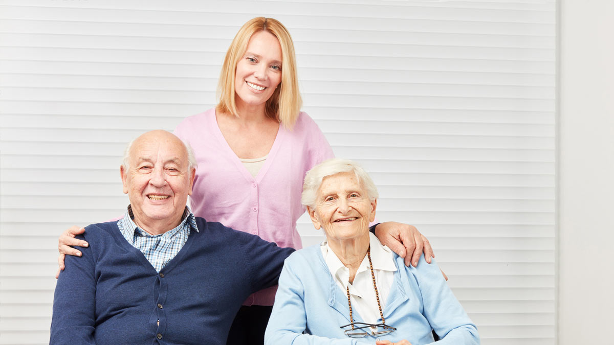 A home care caregiver in her client's home.