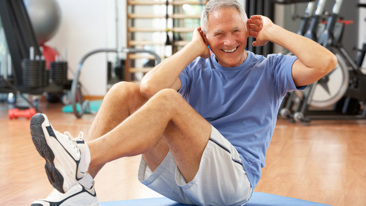 Photo of a middle-aged man exercising. Dr. Jana Upshaw of Winning Health recommends lifestyle changes that can keep patients out of surgery.