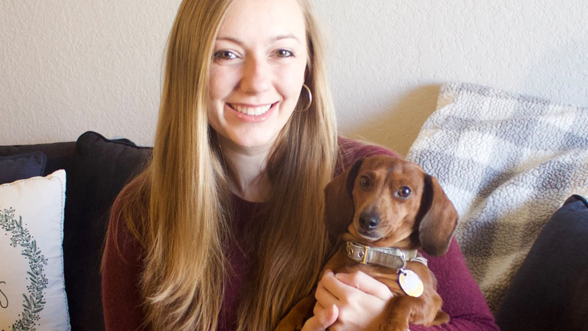 Dr. Esther Schow of Veterinary Specialty Care with a miniature Dachshund