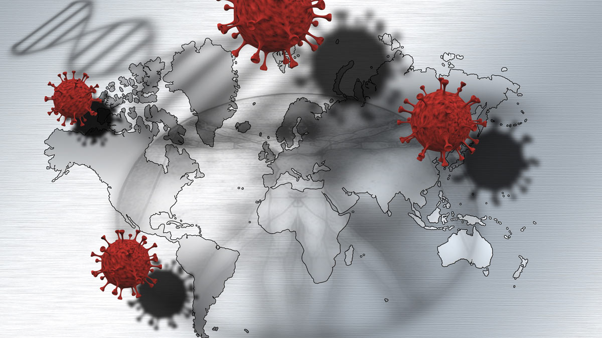"""Illlustration of the SARS-CoV-2 """"taking the world"""", a graphic depicting the COVID-19 Pandemic."""