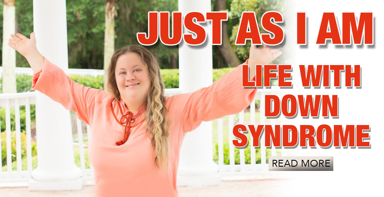 Feature article: Living with Down Syndrome. Trista Kutcher smiling, arms open wide.