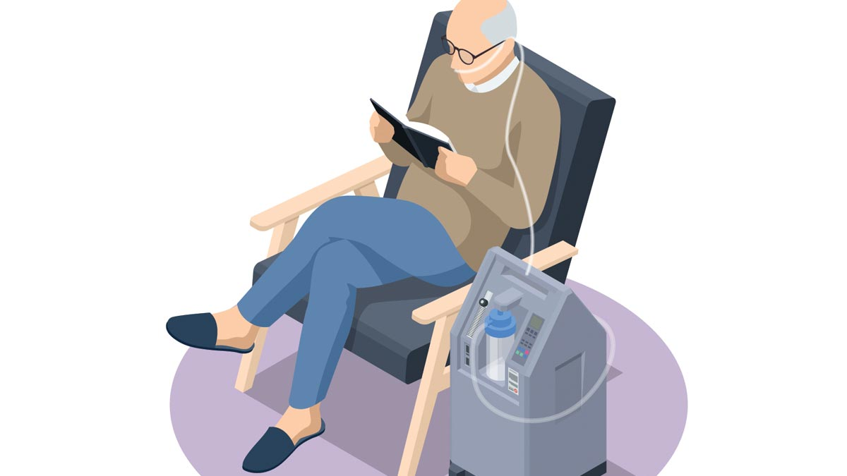 Illustration: An older man sits in a chair and reading a book gets oxygen therapy