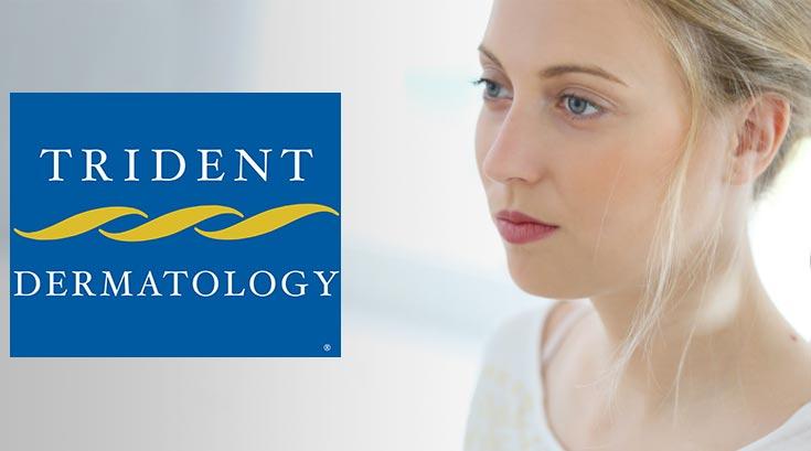 Trident Dermatology patient and Trident Dermatology logo