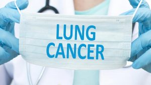 A facial mask with the words Lung Cancer on it.